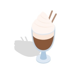 Latte coffee with cinnamon stick icon vector