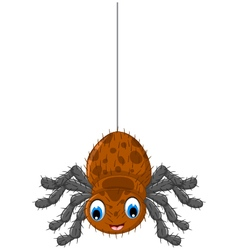 Funny brown spider cartoon posing vector
