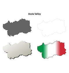 Aosta valley blank outline map set vector