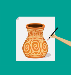 Artist painting ancient pottery on paper vector