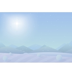 Beautiful simple flat Chrismas winter mountains vector image