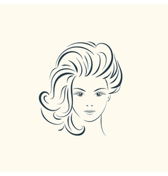 Beauty woman face with long wavy hair lines vector