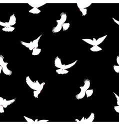 Birds silhouettes - flying seamless pattern dove vector