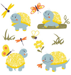 cartoon turtles with insects set vector image
