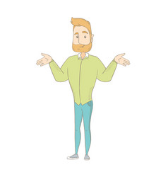 Caucasian confused hippie man with spread arms vector