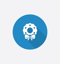 Christmas wreath Flat Blue Simple Icon with long vector image vector image
