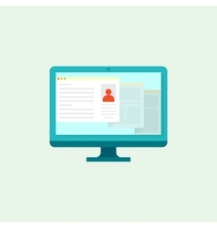 Computer flat icon vector image vector image