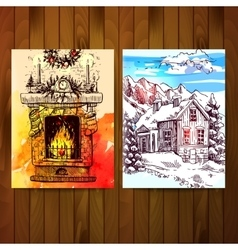 Fireplace and winter landscape vector