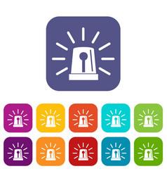 Flashing emergency light icons set vector