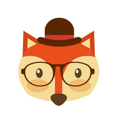 Forest fox hipster with hat glasses vector