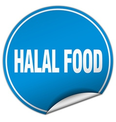 Halal food round blue sticker isolated on white vector