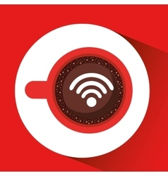 Internet coffee wifi connection icon vector
