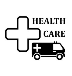 Medicine icon with cross and ambulance car vector