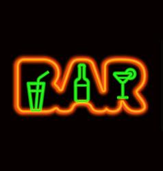 Neon signboard bar vector