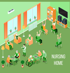 Nursing home care interior isometric vector