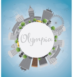 Olympia Washington Skyline with Grey Buildings vector image