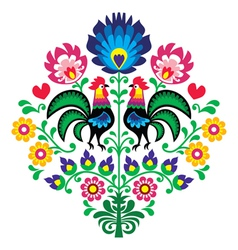 Polish folk embroidery with roosters pattern vector image