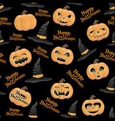 Pumpkins and hats of witch vector