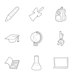 School icons set outline style vector