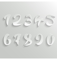 Set of 3d White Calligraphic Numbers vector image