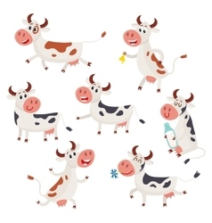 Set of funny spotted cow characters standing vector