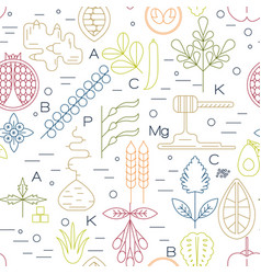 superfood line icons seamless vector image vector image