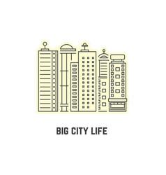 Thin line skyscrapers icon vector