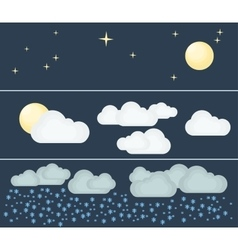 Three kinds of winter night weather vector
