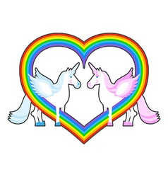 Two unicorn and rainbow heart symbol of lgbt vector