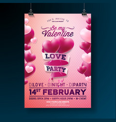 Valentines day party flyer design with vector