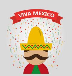 Viva mexico man mexican traditional clothes vector