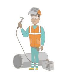 Young hispanic welder using gas welding machine vector