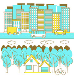 City and forest landscape vector
