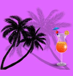 summer background with palm trees and juice vector image