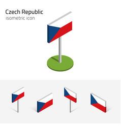 Czech republic flag set 3d isometric icon vector