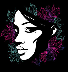 Silhouette of a female face decorated with flowers vector