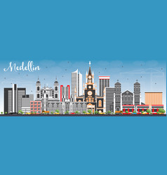 Medellin skyline with gray buildings and blue sky vector