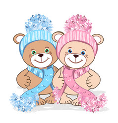 Teddy bear in a knitted hat vector