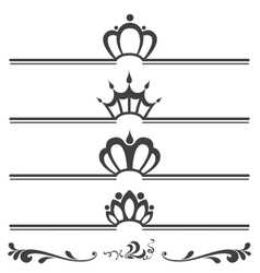 Collection of vintage text headers with crowns vector