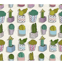 Cute seamless cactus patter vector image