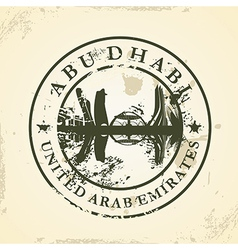 Grunge rubber stamp with abu dhabi uae vector