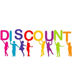 Children holding the word discount vector
