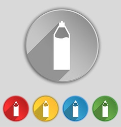 Plastic bottle with drink icon sign symbol on five vector