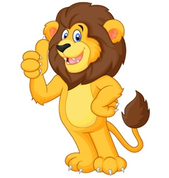 Cute cartoon lion giving thumb up vector