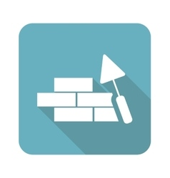 Building wall icon square vector