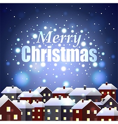 Merry christmas on night snowy town background vector