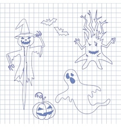 Collection icons for halloween on notebook vector