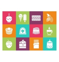 Coffee desserts and chocolate icons vector