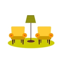 Two armchairs and floor lamp vector