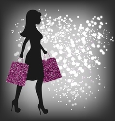 Black friday sale shopping woman with bags on dark vector